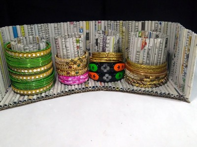 How to make an bangle stand using Newspaper | Newspaper 8 | All type videyos