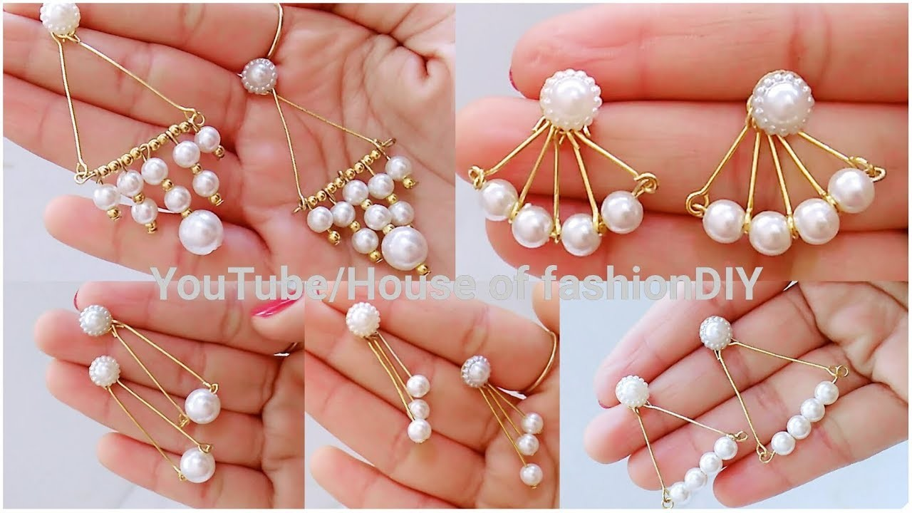 How To Make Pearl Earrings for Office.Collage Going girls||Pearl Earrings At Home