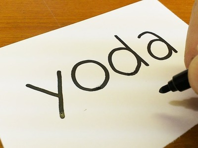 How to turn words YODA(Star Wars)into a Cartoon for kids -  How to draw doodle art on paper