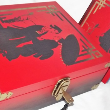 Gift set - Love In The Orient - LARGE BESPOKE Lockable wooden memory box with a FREE matching hardcover notebook.