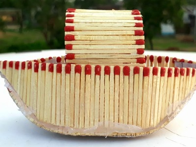 Matchstick art : How to make a matchstick boat.easy match art, DIY craft making from waste material.