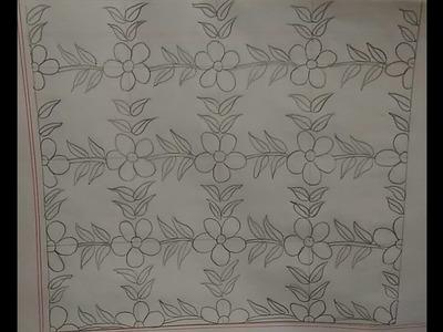 Nakshi kantha floral design  step by step for beginners_72.নকশীকাঁথার ফুল পাতা নকশা ডিজাইন