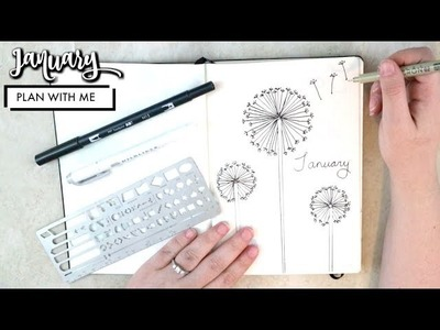 PLAN WITH ME | January 2018 Dandelion Theme Bullet Journal Set Up + GIVEAWAY!