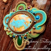 Soutache embroidered brooch