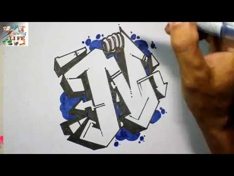 Very Easy How To Draw Graffiti Bubble Letters N For Kids Step By Step