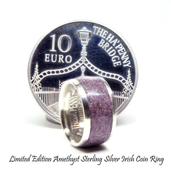 Amethyst ring, February birthstone rings, limited edition silver coin ring. Zodiac wedding rings, Eco friendly jewelry healing stone rings.
