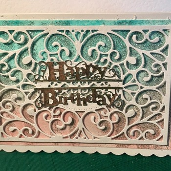 Die cut Lace glitter Birthday card