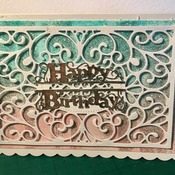 Die cut Lace glitter Birthday card