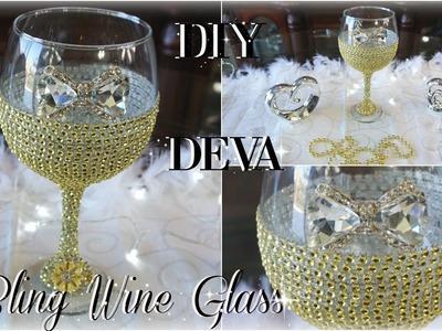 DIY BLING WINE GLASS 50TH BIRTHDAY   DIY BRIDE   BRIDAL SHOWER   WEDDING   TOTALLY DAZZLED BLING GEM