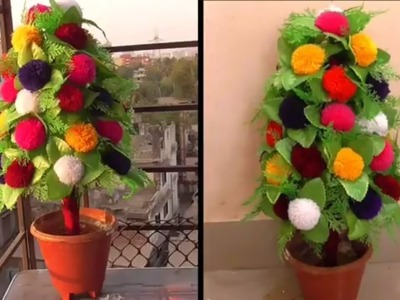 DIY - Flower Plant Making From Woolen || Home Decoration Ideas With Woolen POM POM