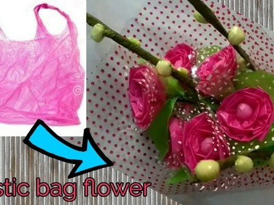 DIY II  Waste Plastic bag Flower bouquet for Valentine's day