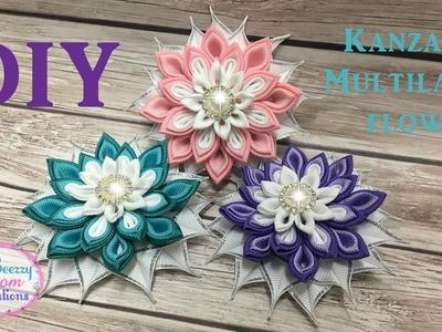 DIY Kanzashi Multilayer Petal. Kanzashi Hair Clip. Ribbon Flower Tutorial