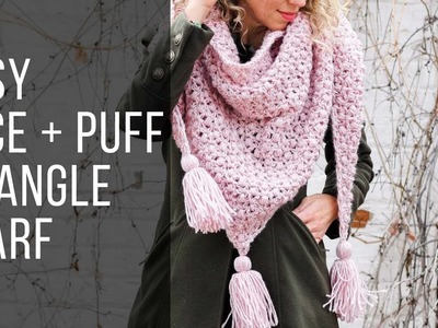 How to Crochet an Easy Puff Stitch Shawl.Scarf - Free Pattern!