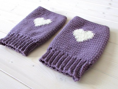 How to crochet women's heart wrist warmers. fingerless gloves