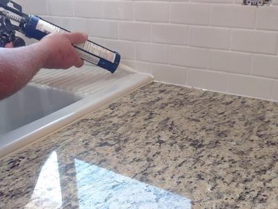 How to install silicone caulk around kitchen countertop, shower, bath tub etc.