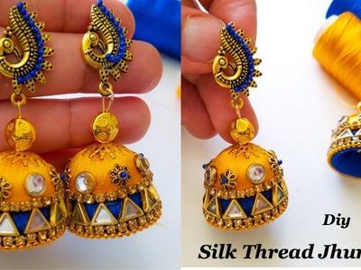 How to make beautiful silk thread jhumkas  Making Silk Thread Jhumkas With Kundans