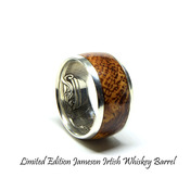 Irish coin ring. Jameson whiskey barrel wood ring. limited edition silver coin ring. Handmade Celtic wedding rings, coin rings for men.