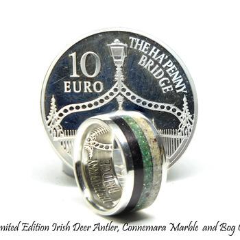 Irish coin ring, limited edition three band ring, deer antler ring, bog oak ring, Connemara marble ring,silver coin ring,Irish wedding rings