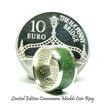 Irish silver coin ring with Irish Connemara marble
