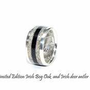 Limited edition deer antler ring with 5000-year-old Irish bog Oak wood. Unique silver coin ring, Irish wedding rings.
