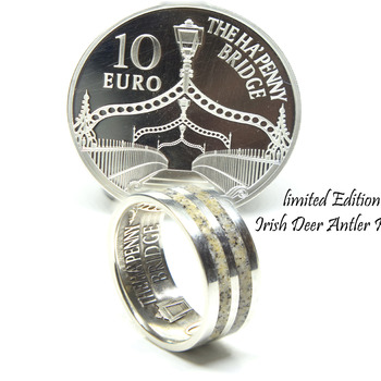 limited edition Irish coin ring, deer antler ring. A Unique Irish sterling silver coin wedding band ring. Handmade Irish Jewelry