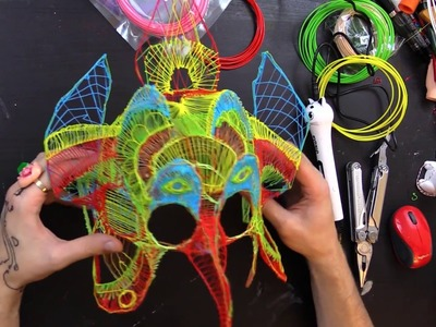 Making a Colorful Mask with a 3d Printing Pen (Dikale 3D Pen For Kids)