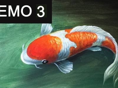 Paint koi fish with Acrylic on canvas -Demo 3