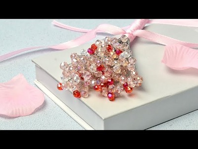 PandaHall Valentine's Day Video Tutorial on Electroplate Glass Beads Flower Bouquet
