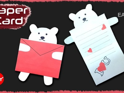Paper Bear card for Valentine's Day | Cute and Easy card Tutorial | Kids craft |