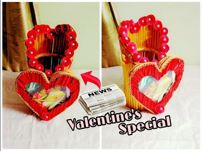 Pen holder with photo frame | Newspaper Crafts | Valentine's day special