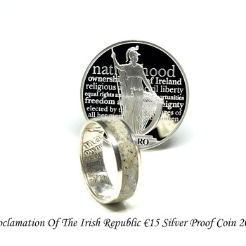 Proclamation of the Irish Republic silver coin ring, Irish wedding band rings made from a commemorative coin celebrating events of 1916.