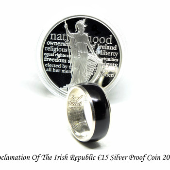 Silver coin ring, Irish wedding band rings made from a commemorative coin celebrating the Proclamation of the Irish Republic.