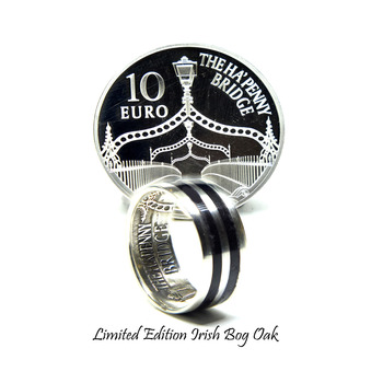 Silver coin ring, limited edition Irish coin ring with 5000-year-old Irish bog Oak wood. Unique silver Irish wedding rings.