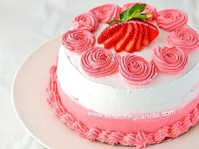Strawberry Milkshake Cake | Rosette Cake | Valentine's Day Strawberry Cake