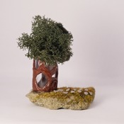 Tree House Ornament Standing Trees Moss Fairy Home Nature Home Decor Handmade (Medium Item)