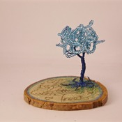 Tree Ornament Standing Wire Love Trees Blue Wood Engraved Home Decor Handmade