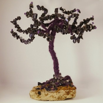 Tree Ornament Standing Wire Trees Goldstone Nature Purple Home Decor Handmade (Large Item)