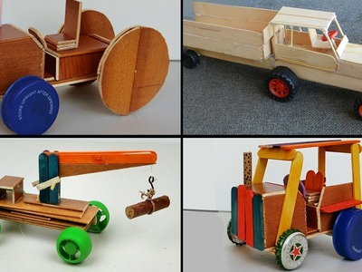 3 Popsicle Stick Car & Truck   How to Make DIY Toy for Kids
