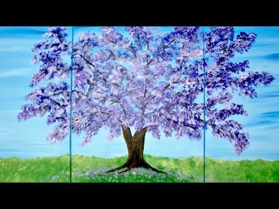Acrylic Tree Trio Canvas Speed Painting Tutorial