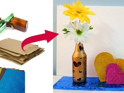 Best out of waste craft ideas of cardboard and empty beer bottle
