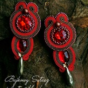 Deep red and gold statement earrings