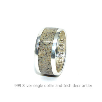 Deer antler ring, 999 Silver eagle dollar and Irish deer antler rings for men and women