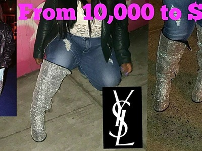 DIY $10,000 YSL CRYSTAL BOOTS FOR ONLY $10  |WIDE CALF BOOTS | PLUS SIZE EDITION  ft. TORRID
