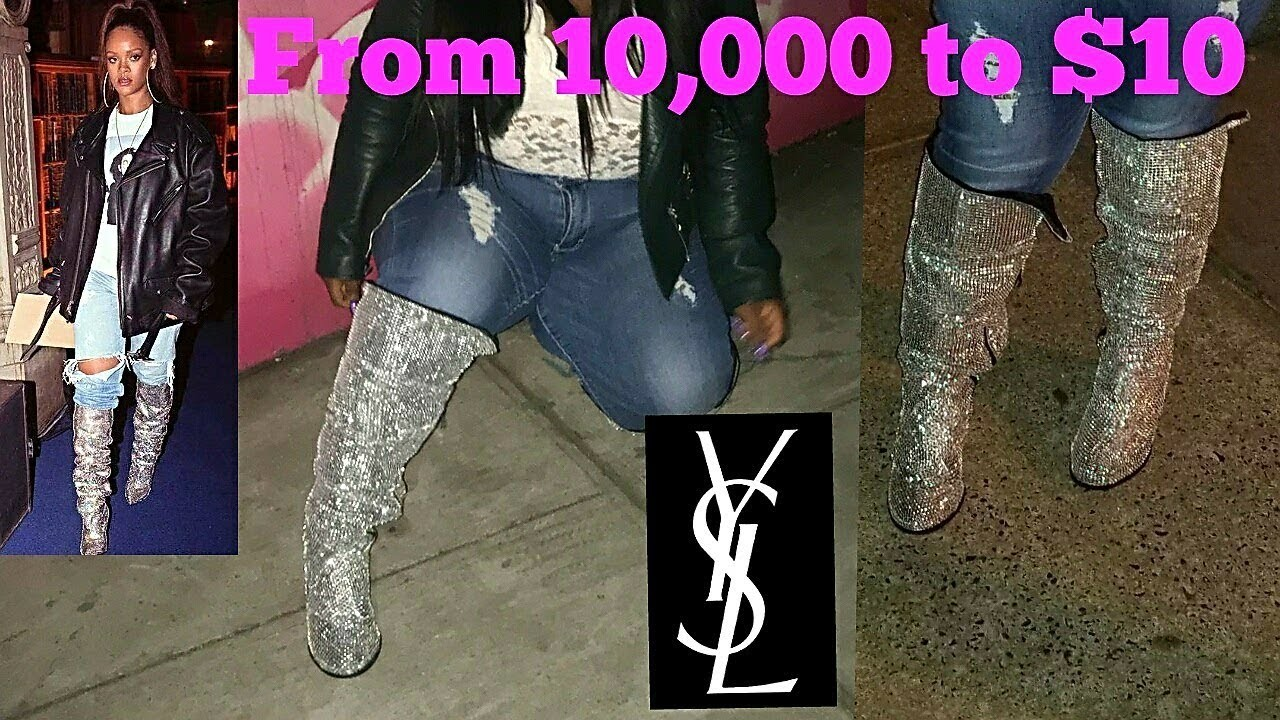 DIY $10,000 YSL CRYSTAL BOOTS FOR ONLY $10   WIDE CALF BOOTS   PLUS SIZE EDITION  ft. TORRID