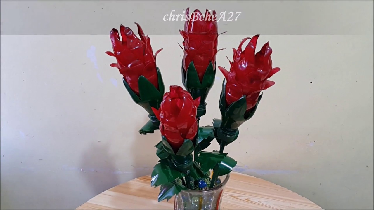 DIY# 85 Red Pine Cone Flower Using Recycled Plastic Bottles