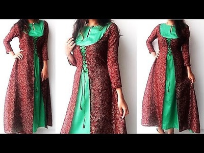 DIY Designer Double Layer Kurti Cutting And Stitching Tutorial