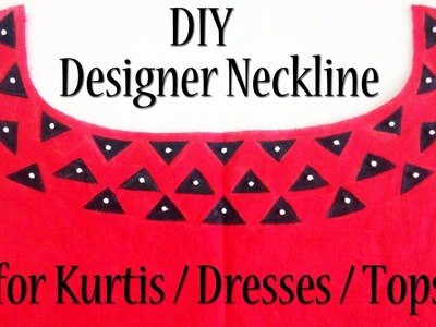 DIY: Designer Neckline pattern for KURTIS  DRESSES  TOPS   Convert plain fabric into Designer wear