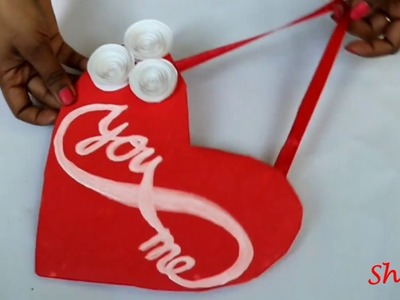 DIY Heart wall hangings.Valentines room decor idea.Cardboard Craft ideas.Best out of waste.flowers