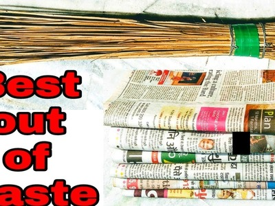 DIY Home Decor-Best out of Waste craft-coconut broom & newspaper craft