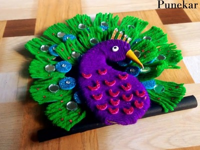 DIY-How to make woolen peacock for home decor | Easy craft | By Punekar Sneha.
